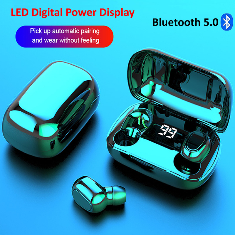 Bluetooth Earphone Wireless Earbuds LED Display 5 0 TWS Headsets Dual Earbuds Bass Sound for Huawei Xiaomi Iphone Samsung Phone