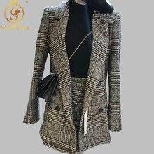 Женский демисезонный костюм из жакета и юбки, комплект из 2 предметов: двубортный жакет с длинным рукавом и отложным воротником, короткая юбка с запахом, размеры, S-3XLSMTHMA