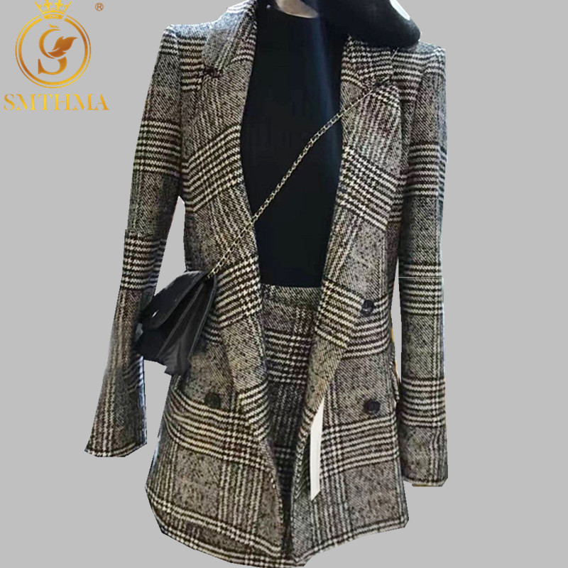 SMTHMA Autumn Women High Quality Double Breasted Long Sleeves Turn-down Collar Suit 2pcs Skirt Sets Suit Women Plus Size S-3XL