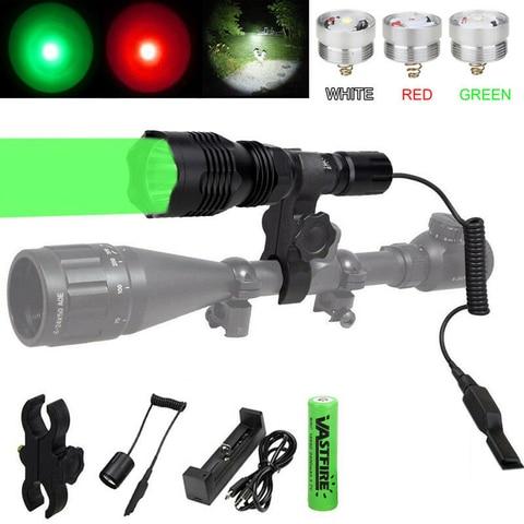 3 em 1 verde vermelho branco led caca lanterna interruptor de pressao rifle montagem 18650