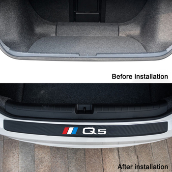 Auto Rear Bumper leather Stickers For Carbon Fiber Protector Car Trunk Guard Plate Film For Car Accessories for Audi A4 A6 Q5 lsrtw2017 fiber leather car trunk mat for audi a4 allroad 2018 2019 a4 avant a4 b9