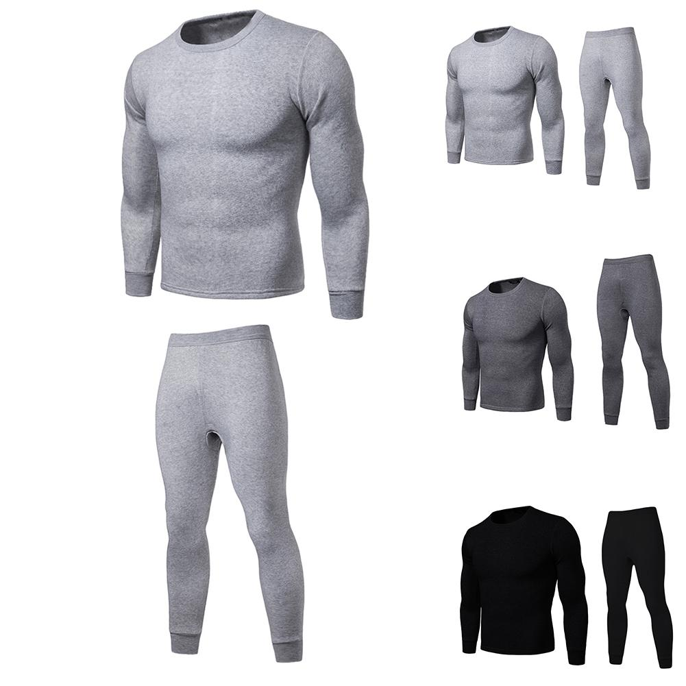 2019 Autumn And Winter 3 Seconds Hot Warm Men's Thermal Underwear Set Large Size Men's Solid Color Long-sleeved Shirt Suit