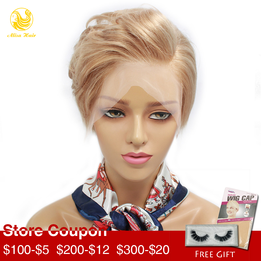 Alisa Hair Pixie Cut Short Bob Lace Front Human Hair Wigs Blonde #613 Virgin Brazilian Lace Wigs Pre Plucked Hairline image