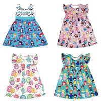 Ropa de dibujos animados para niña, vestido de línea a para niña, vestido de princesa, unicornio, flamenco, manga acampanada, vestido de fiesta de cumpleaños