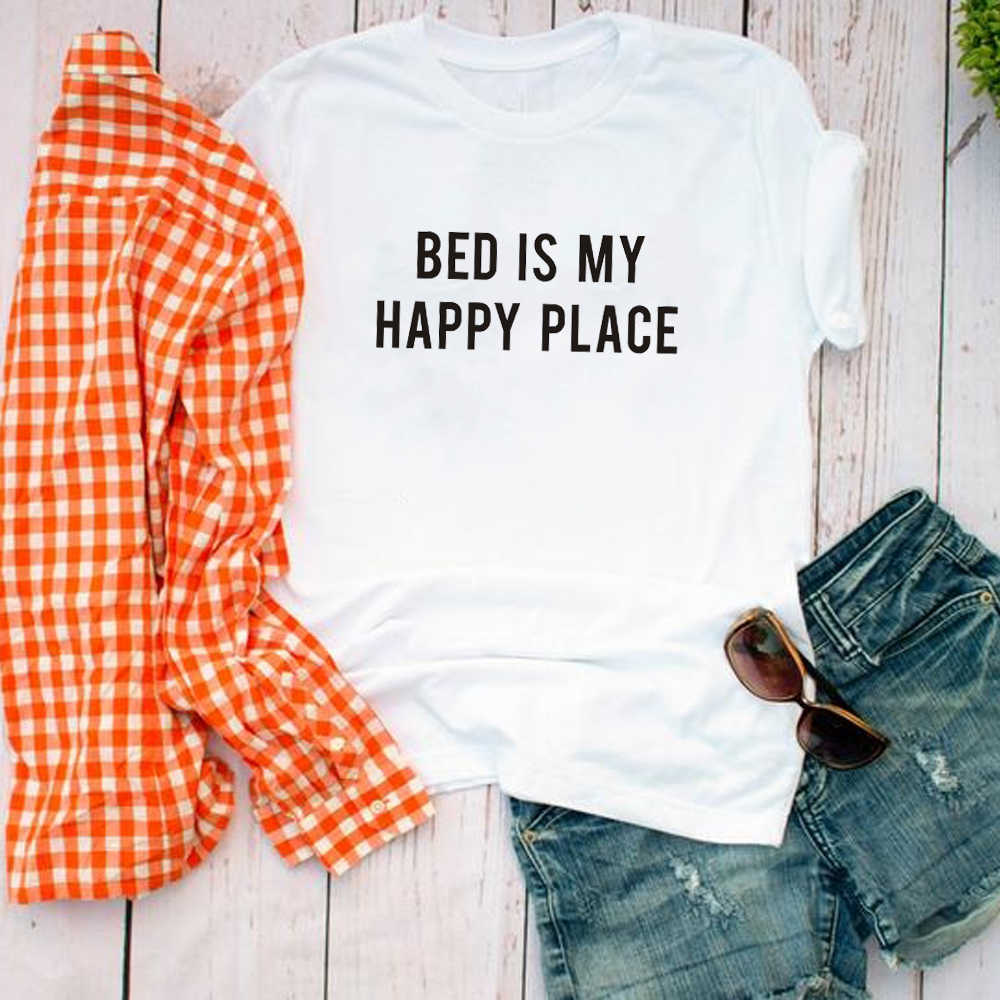 Letto è il mio posto felice Grafici Magliette Womens T shirt Tumblr Abbigliamento pisolino Camicette Divertente Magliette con dire per Gli Adolescenti adolescente Regalo top