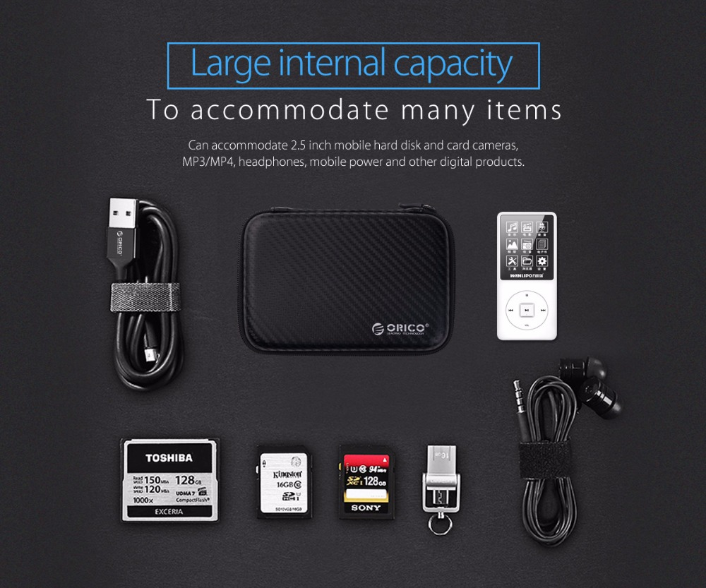 ORICO 2.5 inch Hard Drive Portable HDD Protector Bag External Hard Drive Storage Bag for SSD/Earphone/U Disk HDD Case 2