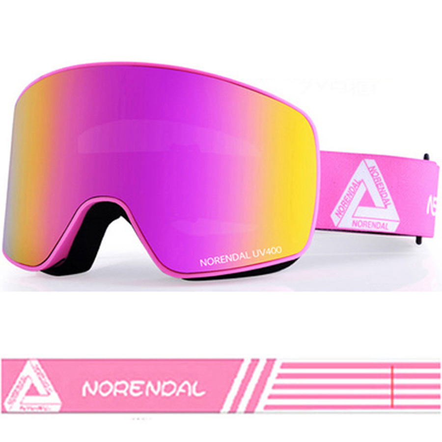 Women Ski Goggles Anti-fog UV Mask Winter Spherical Mirror Glasses Protection Snowboard Airsoft Goggle Double Lens Pink White