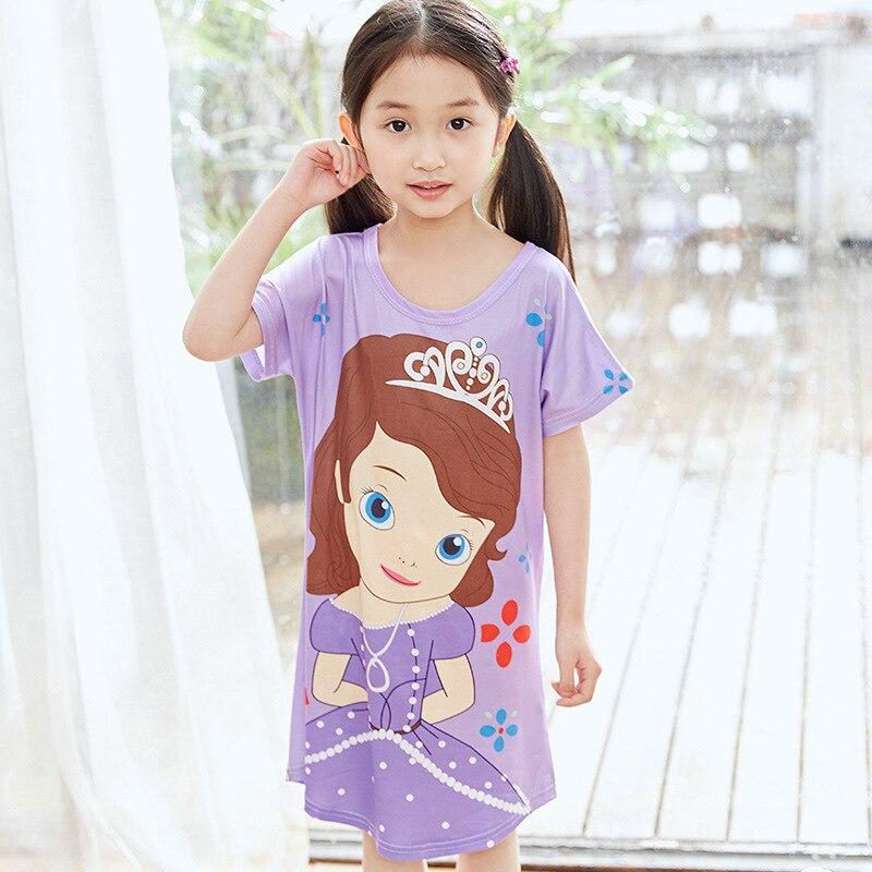 CHILDREN'S Lingerie Short Sleeve Princess Dress Summer Girls Cotton Baby Thin Little Girl Pajamas Big Boy Home Dress