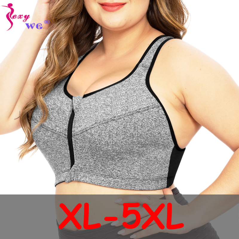 SEXYWG Plus Size Top Women Zipper Sports Bra Underwear Shockproof Push Up Gym Fitness Athletic Running Yoga Bh Sport Bra Top 5XL