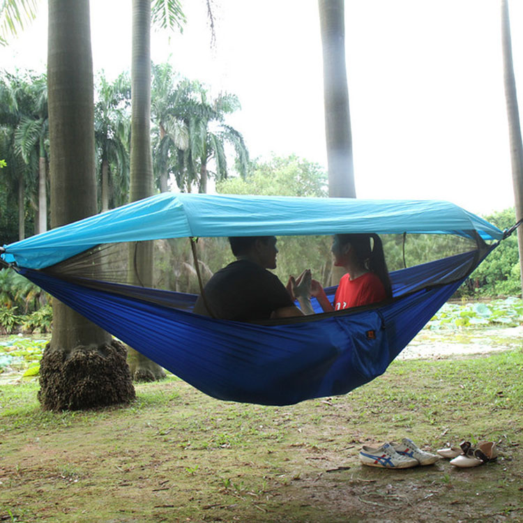 290X140cm Garden Outdoor Camping Hammock with Awning Mosquito Net Parachute Fabric Hanging Bed Hunting Swing Chair