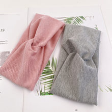 Bandeau élastique pour femmes, turban large double en coton tricoté, couleur unie, accessoire de cheveux élastique, maquillage pour filles