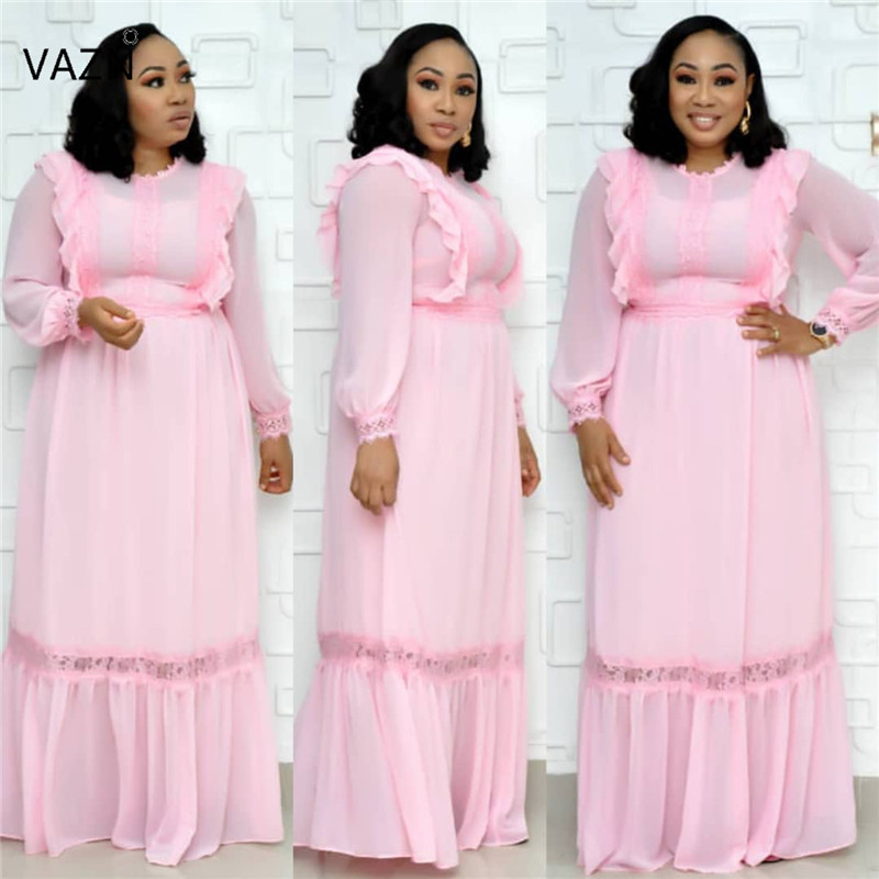 VAZN JN01 Young Lady Of Note Sexy Fashion White Fresh Round Neck Short Sleeve High Waist Women Vacation Ball Gown Maxi Dress image