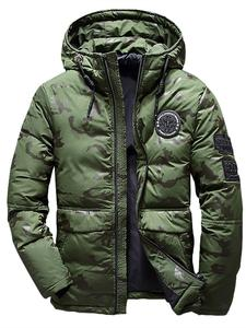 Men Coat Jackets Parka Ultralight Camouflage Hooded White New Male Thick