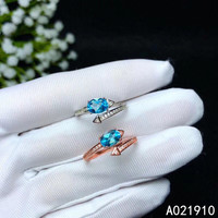 KJJEAXCMY boutique jewelry 925 sterling silver inlaid Natural blue Topaz ring female support detection trendy