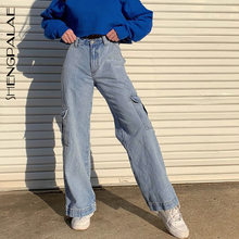 SHENGPALAE – jean décontracté pour femme, pantalon Long de Cowboy, ample, Streetwear, multi-poches, droit, nouvelle collection été 2021, ZA4421