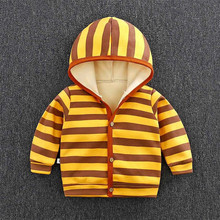 Winter Newborn Baby Coat Hooded Cotton Thick Infant Toddler Boys Girls Velvet Stripe Coat Cartoon Boys Cardigan Baby Clothing(China)