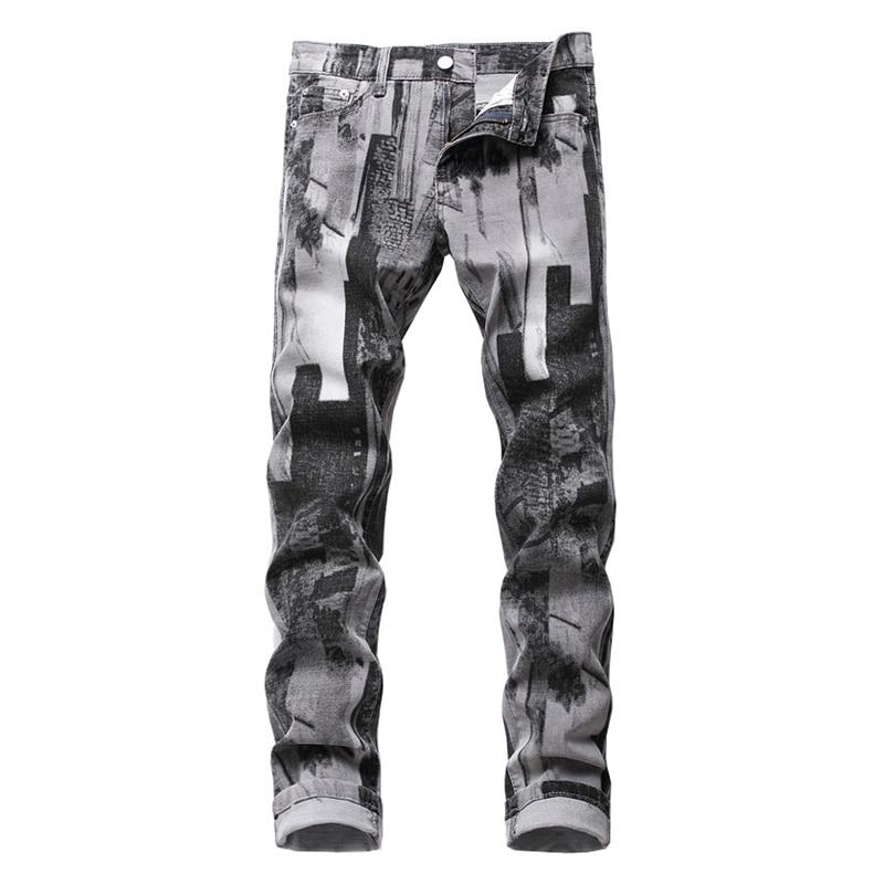 Men's fashion gray pattern printed jeans Slim traight stretch denim pants
