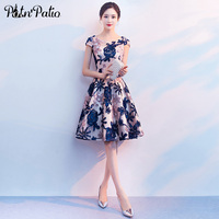 Blue Flower Short Prom Dresses 2020 Elegant O neck Lace Cocktaile Dresses Plus Size Women Short Formal Gown