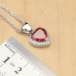 Image 5 - Kalp gümüş 925 gelin takı setleri kırmızı kübik zirkon boncuk dekorasyon kadın düğün küpe ile taş kolye seti