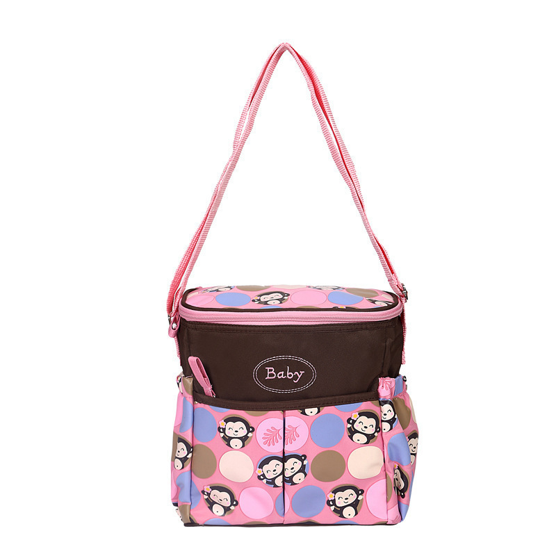New Style Little Monkey Cartoon Pattern Diaper Bag Small Portable Shoulder Bag Multi-functional Fashion MOTHER'S Bag