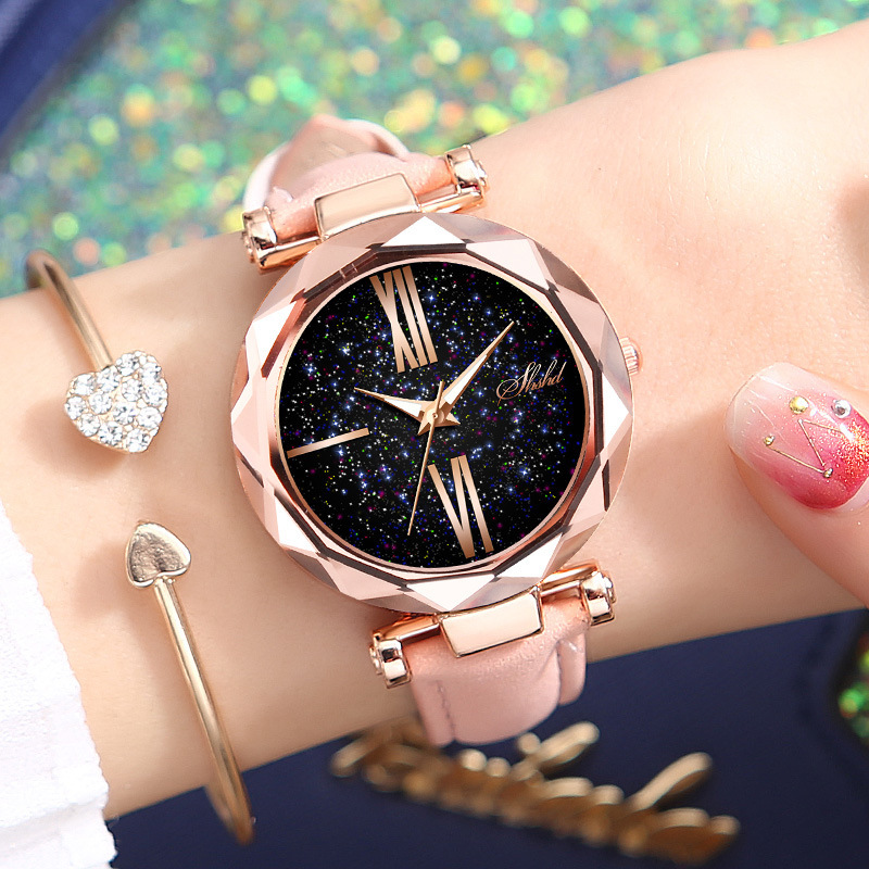QMXD Women Watch Star Sky Dial Clock Luxury Rose Gold Women's Bracelet Watch Casual Ladies Quartz Wrist Watches Relogio Feminino