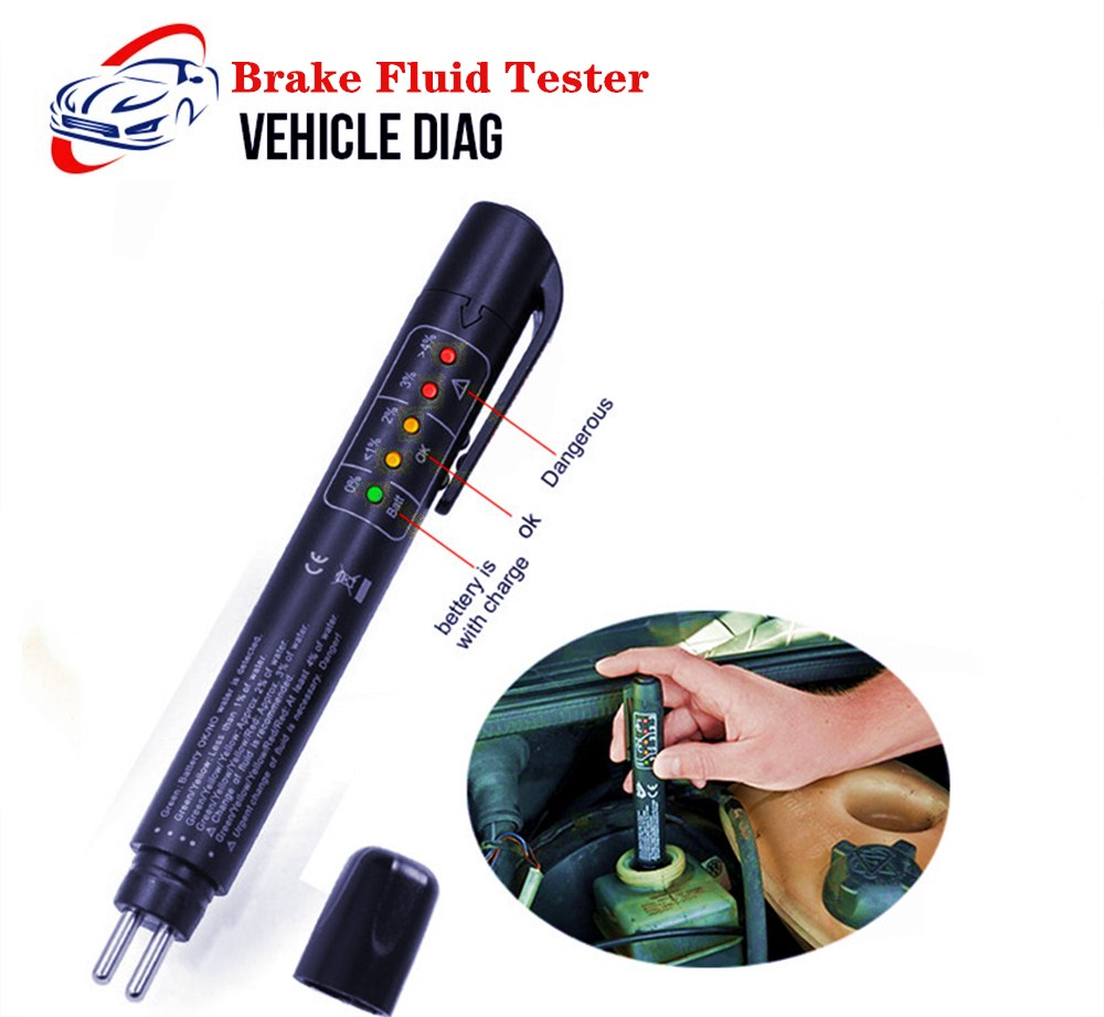 Brake Fluid Tester Universal 5 LED Accurate Oil Quality Check Pen Automotive Brake Fluid Testing Car Repair Tool