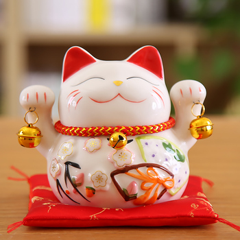 5 inch Maneki Neko Lucky Cat Ornament Ceramic Fortune Cat Statue Home Decorative Gift Feng Shui Beckoning Cat Piggy Bank 1