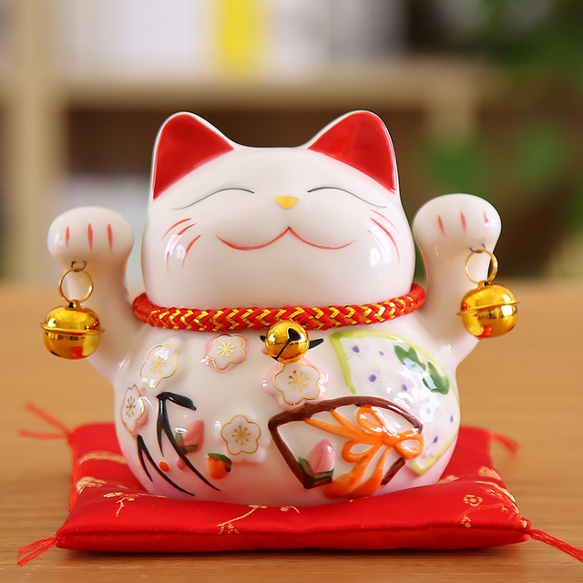 5 inch Maneki Neko Lucky Cat Ornament Ceramic Fortune Cat Statue Home Decorative Gift Feng Shui Beckoning Cat Piggy Bank 1
