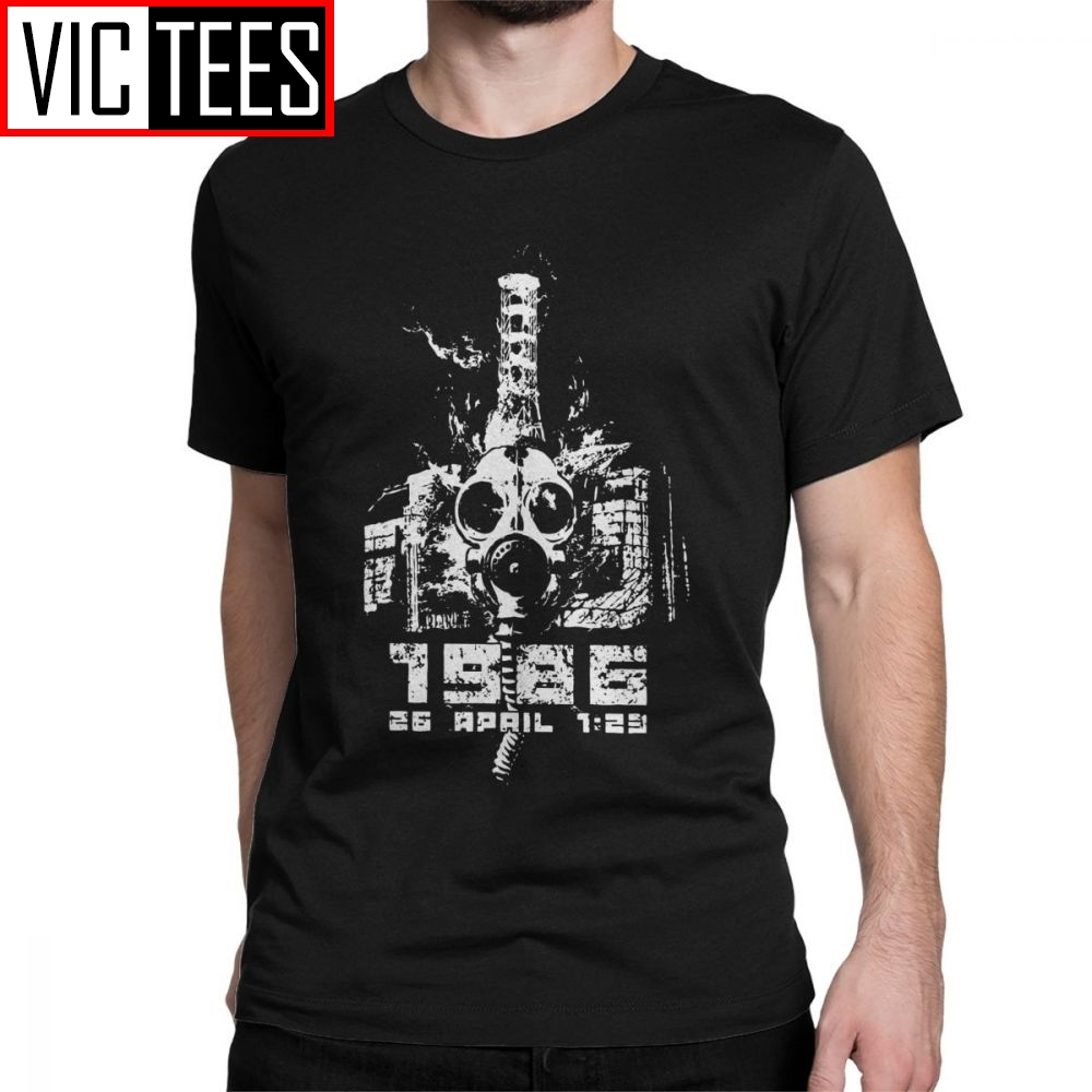 1986 Tribute Chernobyl T Shirt Men 100 Premium Cotton T-Shirts Crewneck TV Show Russia Gas Mask Tees  Sweatshirt Happy New Year