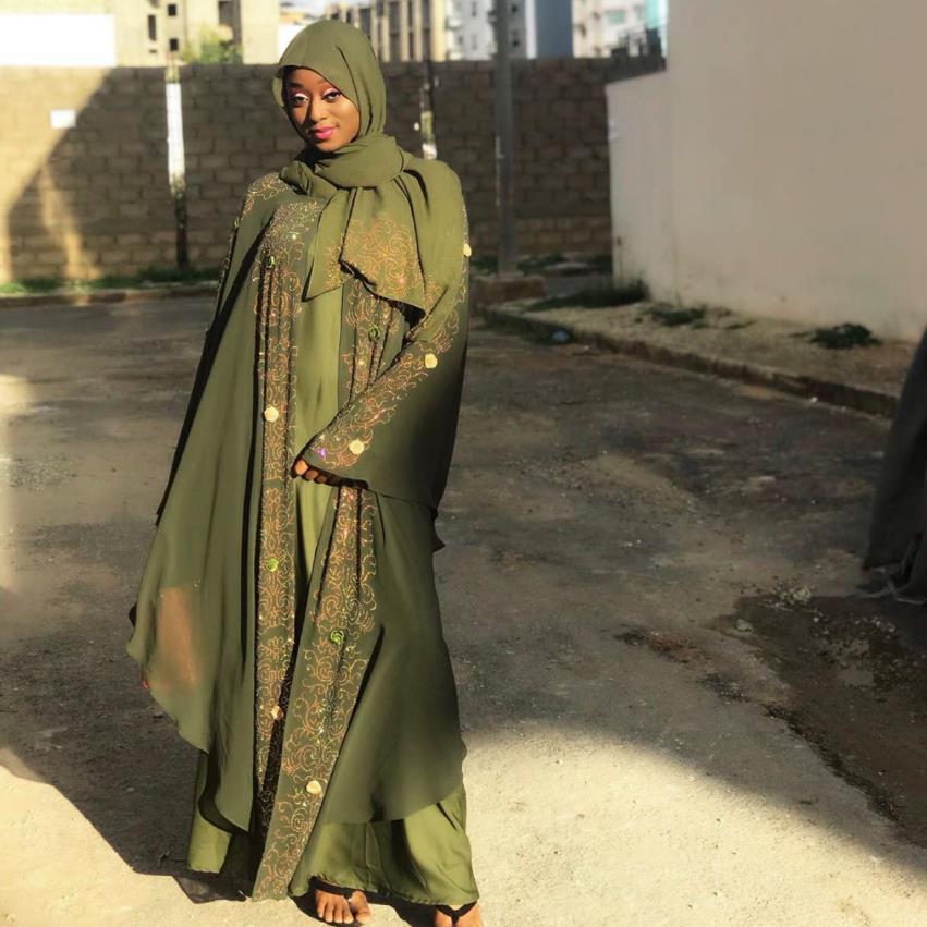Diamond Beading Fake Two Pieces Abayas Muslim Abaya Female Full Length Prayer Kimono Islamic Cardigan Robes With Scarf F1519