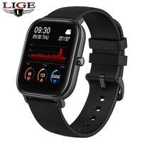 Lige p8 1.4 polegada relógio inteligente dos homens de toque completo fitness rastreador pressão arterial esportes relógio inteligente feminino para android ios