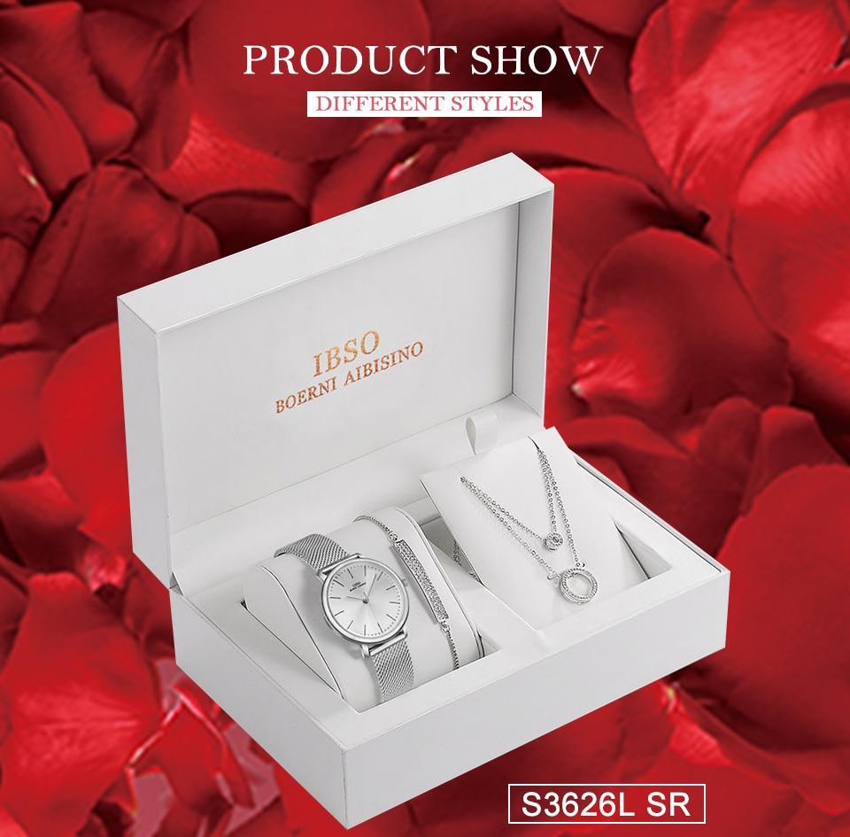 Ensemble bijoux Femme montre cristal Design Bracelet collier 11