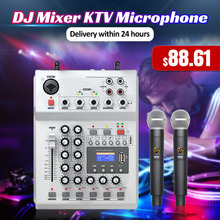 LEORY F 12T USB אודיו DJ מיקסר KTV מיקרופון נונו קלט 2 אלחוטי מיקרופון 48V פנטום כוח עבור KTV