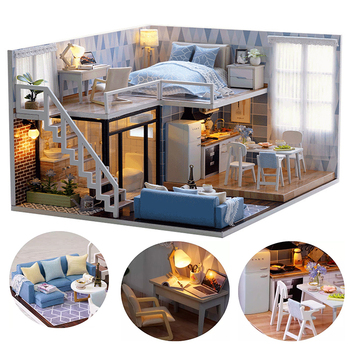 DIY Dollhouse Wooden doll Houses Miniature Doll House Furniture Kit  doll Houses Miniature   Birthday Gift сумка wooden houses w302 2014