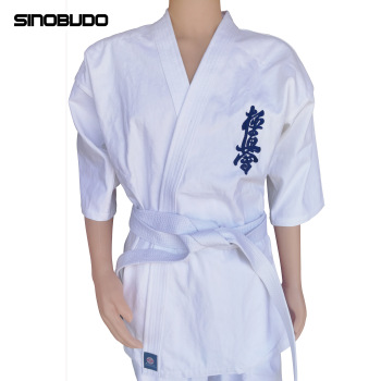 Kyokushinkai-Dobok de algodón de alta calidad, 100% de 12oz, dogi, uniforme tipo Kimono de Karate, cinturón blanco gratis para niños y adultos