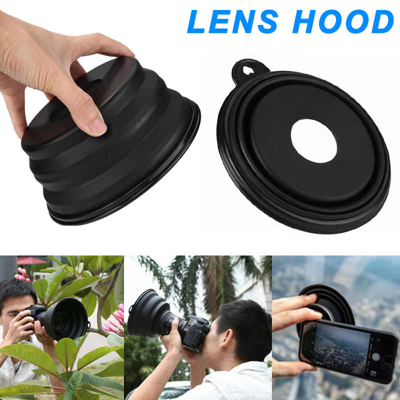 New Flexible Telescopic Lens Hood Removing Glares By Day And Reflections By Night Silicone DOM668