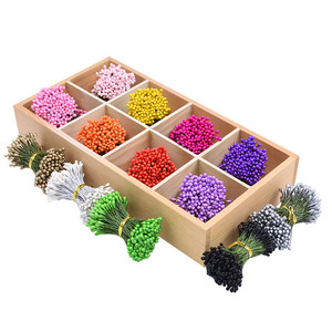 130/260pcs 3mm Colorful Mixed Artificial Flower Mini Cherry Stamen Berries Fake Flowers Gift Box DIY Wreaths Wedding Party Decor