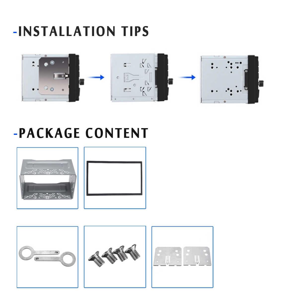 Universal Araç Stereo Radyo DVD Fasya Paneli Plaka Çerçeve 2Din Panel Ses Dash Montaj Kiti Adaptörü Montaj Kafes Çerçeve 80x 110x100mm