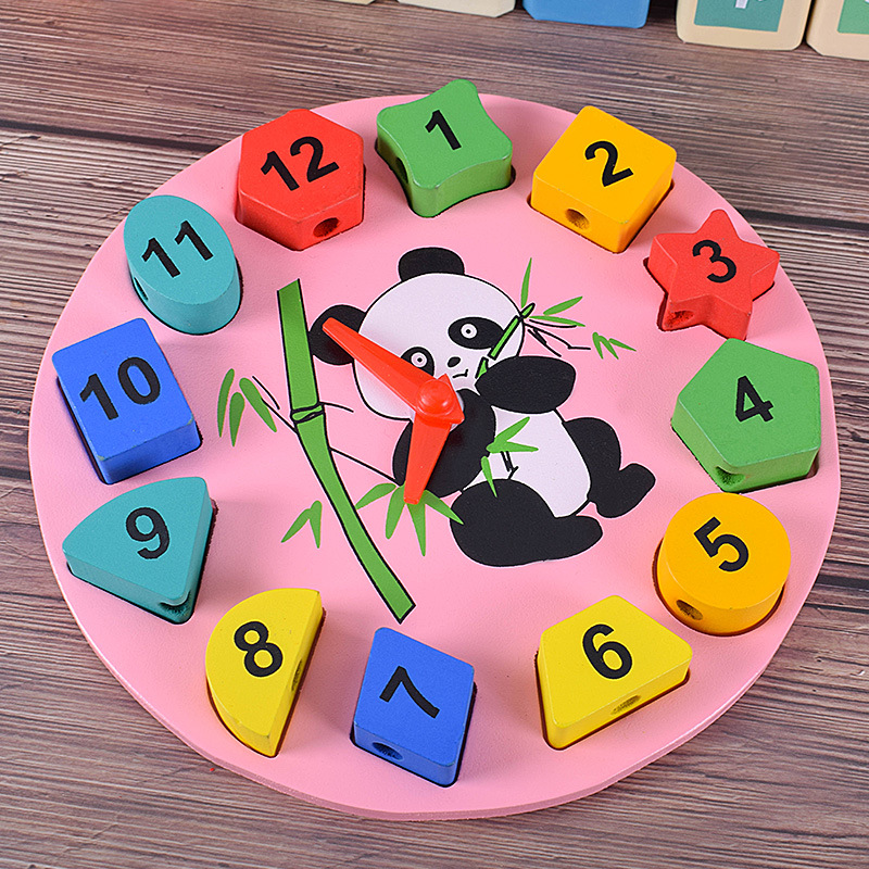 With Numbers Clock Threading Lanyard Weak Sight Children Hand-Eye Coordination Training Baby Early Childhood Educational Force T
