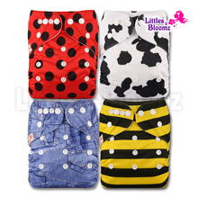 [Littles&Bloomz] 4pcs/set Baby One Size Reusable Cloth NAPPY Cover Wrap To Use With Flat or Fitted Nappy Diaper