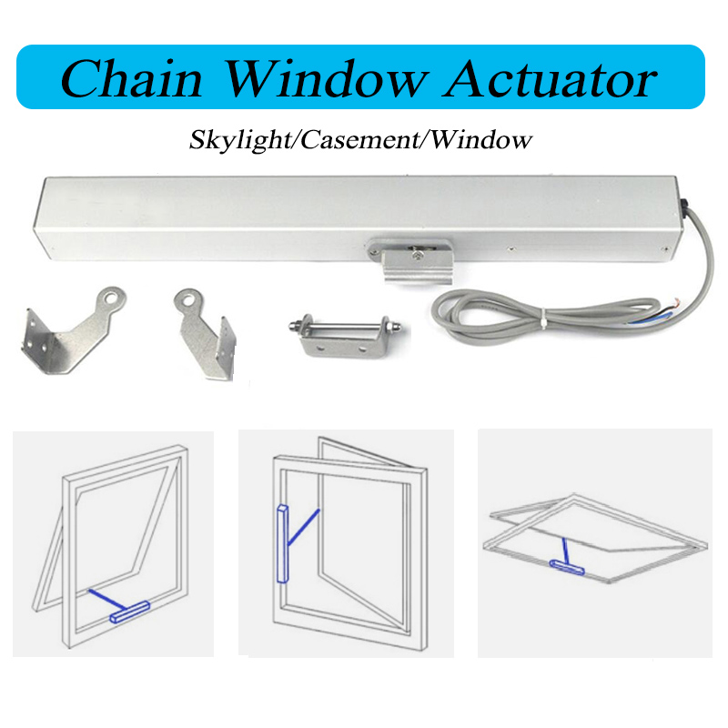 DC24V Stroke Length 400mm 500mm Automatic Actuator Motorized Chain Opener Skylight Casement Blinds Greenhouse Window