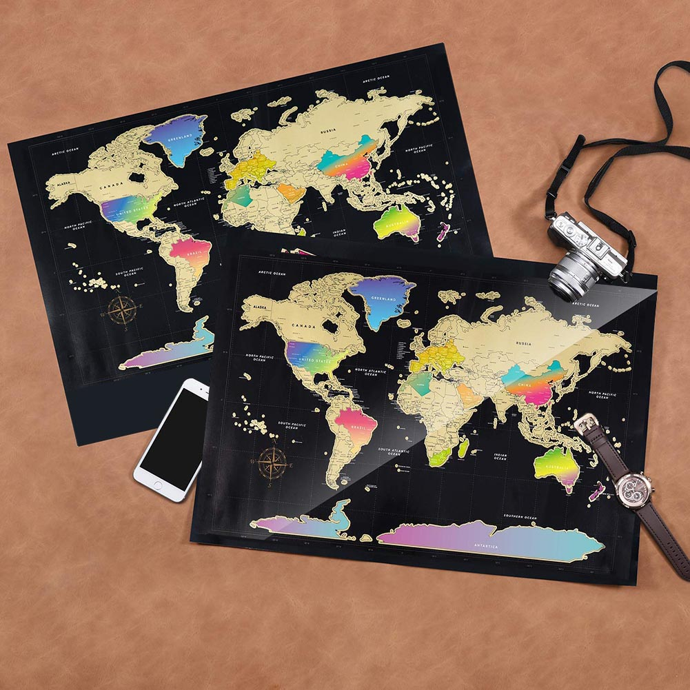 World Map Scratch Off Travel Scratch For Map Room Home Decor Wall Stickers Gifts DQ-Drop