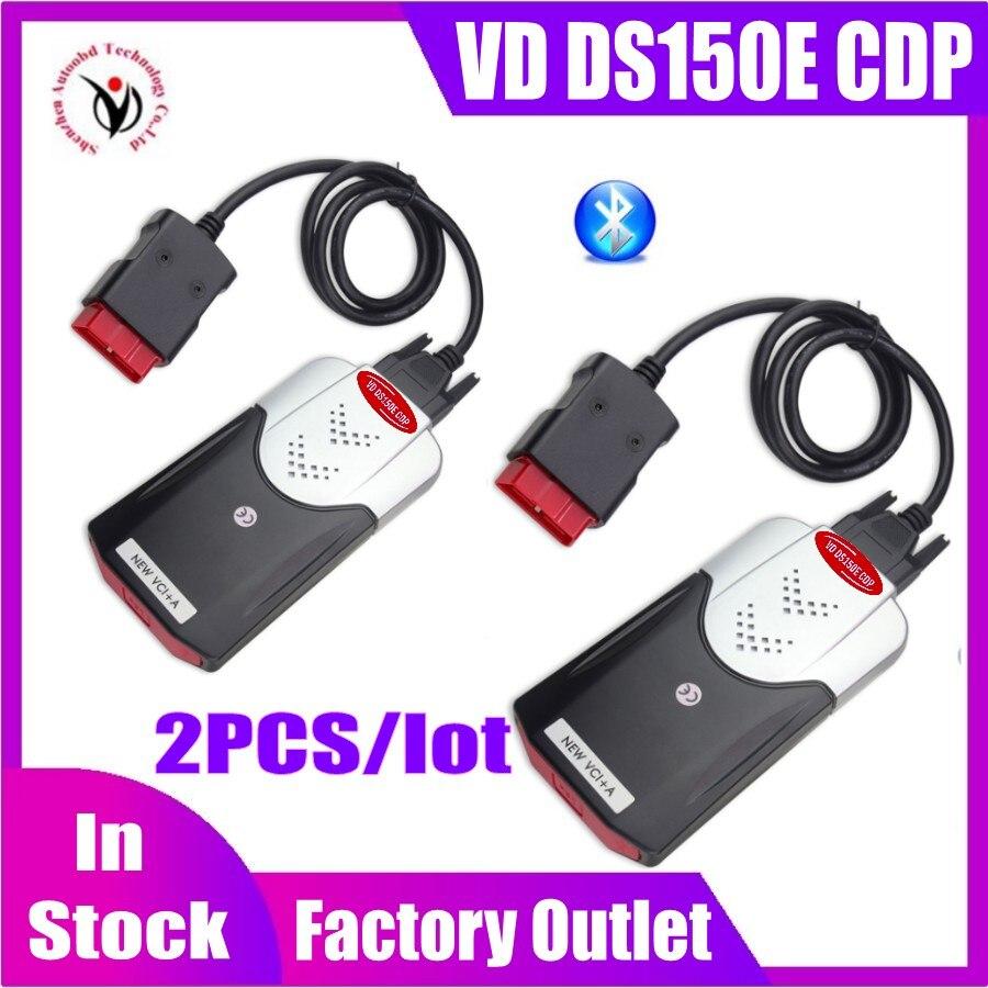 2PCS Lot 2020 Latest NEW VCI diagnostic tool Bluetooth 2016 R0 keygen VD DS150E CDP for delphis obd2 car truck Scanner fast ship