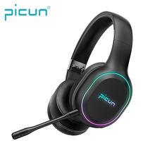 Picun P80S новые мобильные Игровые наушники светодиодный RGB Вибрация игровая Bluetooth гарнитура съемный микрофон беспроводные/проводные наушники