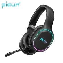 Plus récent Picun P80S Jeux Mobiles Casque LED RVB Vibration Gaming Bluetooth Casque Micro Détachable Sans Fil/Filaire Casque