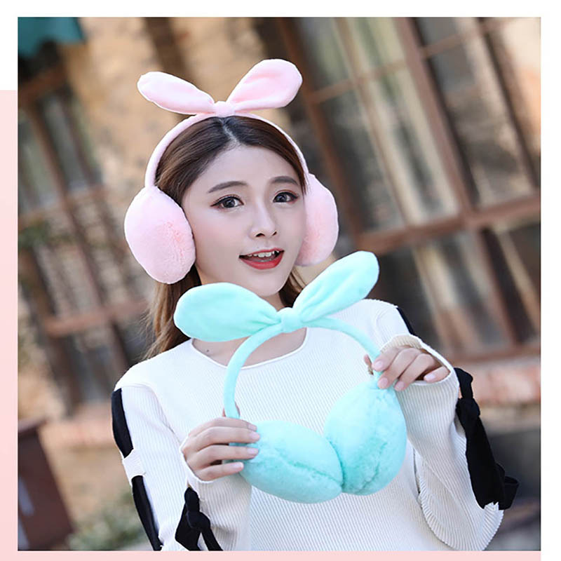 Calymel New Lovely Rabbit Ears Bow Earmuffs Ladies Winter Rabbit Hair Warmer Muffs Outdoor Ski Riding Warm Earmuff Wholesale