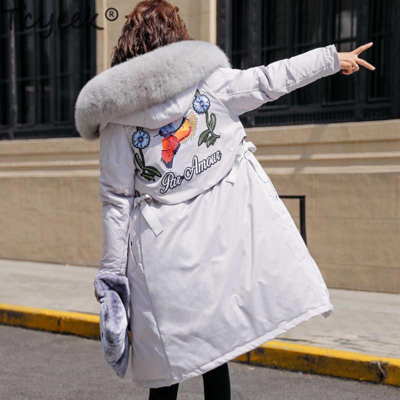 Tcyeek 冬の女性のダウンジャケット女性花服 2019 韓国ロングダウンコート大キツネの毛皮のフード付きコート -56116