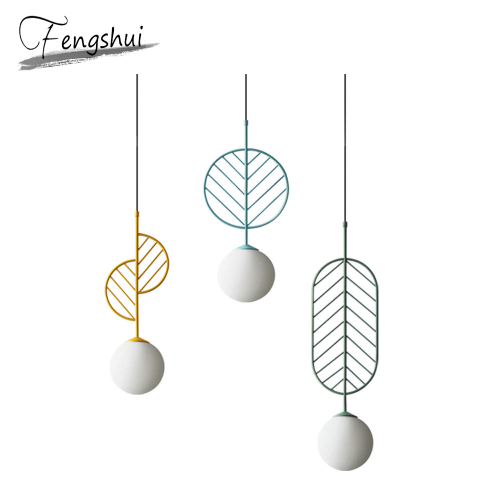 Modern Nordic Glass Pendant Lights Nordic Art Loft Living Room Pendant Lamp Home Decor Hanging Lamp Bedroom Light Fixtures