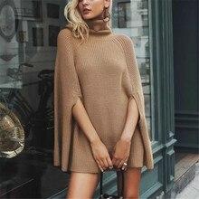 Большие размеры свитера Трикотажное пончо женские с высоким воротом свободные осенние зимние элегантные женские свитера офисные женские Лоскутные новая одежда