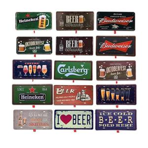 Beer Tin Sign Metal Car Plate License Vintage Shabby Pub Bar Wall Plaques Posters Restaurant Rome Decor Metal Hanging Paintings
